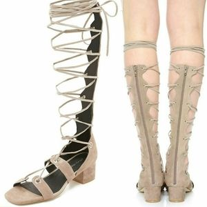 •JEFFREY CAMPBELL• Bryn Gladiator Sandal In Taupe.